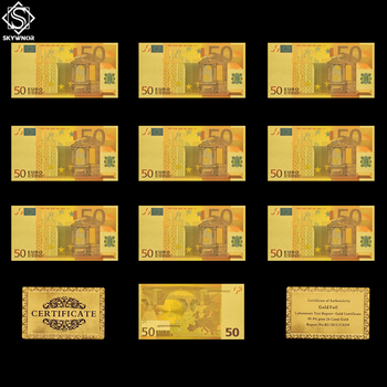 10PCS Euro 50 Banknote Set Fake Gold Foil Banknote Souvenir Paper Money Collection/Table Decor/Gifts patriotism souvenir bills 24k gold banknote euro currency 20 euro replica gold plated banknote money collection
