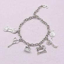 Moda jóias máquina de costura pulseira, seamstress pulseira, quilters lã bola charme pingente pulseira banhado a prata artesanal