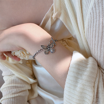 Papillon Vintage OT boucle tailandés argent couleur pulseras pour femme mujeres modo coréenne bijoux es métal cadeaux
