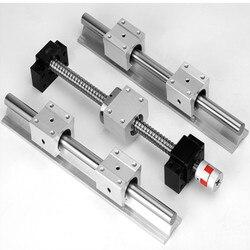 Śruba kulowa SFU1605 500 1000 i 2 szt. Prowadnica liniowa SBR16 L dowolna długość + 4 szt. SBR16UU i BK12 oraz BK12 i łącznik 8*10 4.6|Prowadnice liniowe|   -