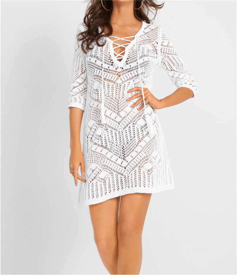 Crochê preto bikini capa ups v-neck robe plage beachwear borla amarrar pareo praia túnica vestido de praia feminino vestidos