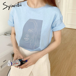Syiwidii tshirt women shirts cotton summer t-shirts character print tops tees solid color blue white t-shirts women girls tops