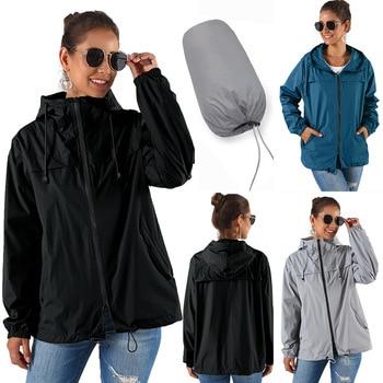 2019 nuevas mujeres impermeables se pueden almacenar chaqueta cortavientos deportes al aire libre escalada chaqueta de lluvia con capucha куртка женская