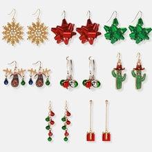 Модные Подвесные серьги в виде снежинки оленя женские рождественские