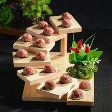 Ornament Sashimi-Plate Sushi Sushi-Step-Ladder Wood Tableware Creative 7-Steps Cuisine