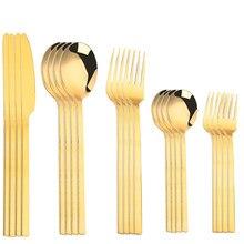 Cubiertos de acero inoxidable para viaje, juego de cubiertos portátil de cocina, tenedores de mesa, cuchillos, cucharas, juego de mesa dorado