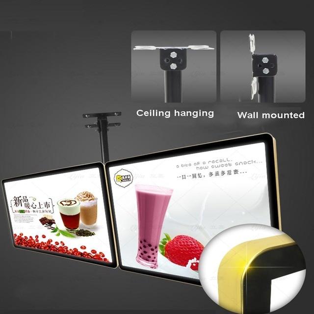 Ceiling Hanging Illuminated Advertising Menu Lightbox Display for Restaurant Hotel Take away,Cafe Shops