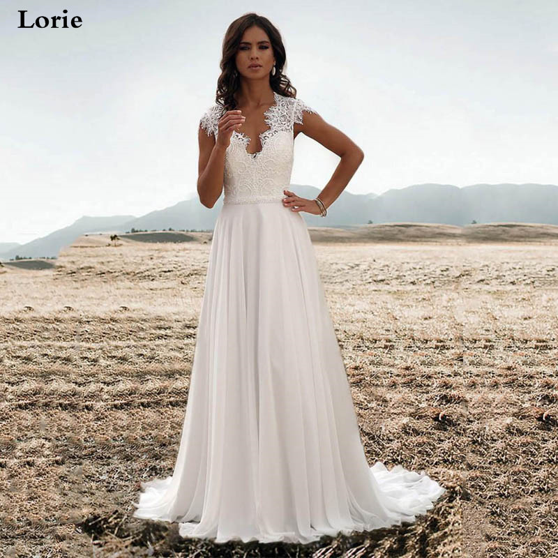 Lorie Chiffon A Line Wedding Dresses 2019 Sleeveless Sexy Lace Bride Dresses V Neck Vestido De Novia Boho Wedding Gown