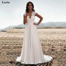 Lorie Chiffon A Line Wedding Dresses 2019 Sleeveless Sexy Lace Bride V Neck Vestido de novia Boho Gown