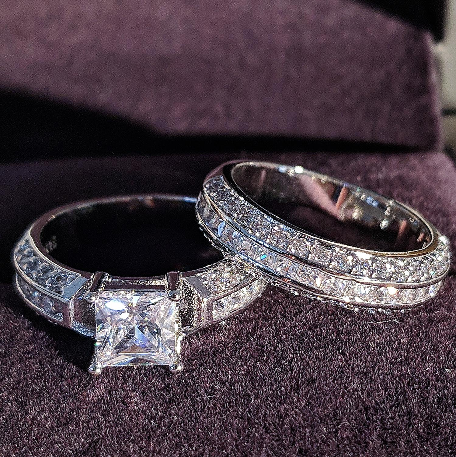 2020 New Arrival Luxury Princess 925 Sterling Silver Wedding Ring Set For Women Lady Anniversary Gift Bulk Sell Moonso R5174