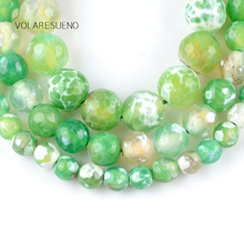 """цена Natural Faceted Green Fire Agates Stone Round Loose Beads For Jewelry Making 6-10mm Spacer Beads Fit Diy Bracelet 15"""" Strand онлайн в 2017 году"""