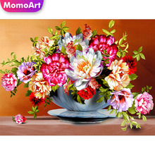 MomoArt 5D Diy Diamond Painting Flowers Bloom Full Drill Square Rhinestone Embroidery Cross Stitch Home Decoration momoart 5d full drill square diamond painting flowers diy diamond embroidery daisy cross stitch home decoration gift