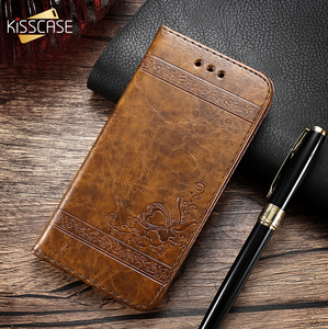 Image 1 - KISSCASE Retro Leather Case For iPhone X 6s 7 Plus 5s Stand TPU Cover Flip Cases For iPhone 5S SE 7 7 Plus 6s XS Max XR XS 8Plus