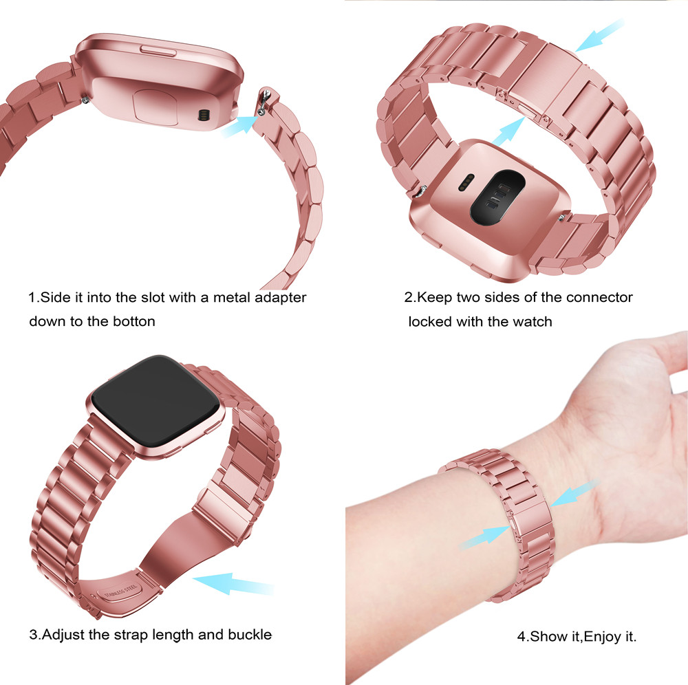 Yayuu Metal Stainless Steel Smart Watch Strap Band Screwless Wristbands with Buckle Repair Tool Kit For Fitbit Blzae Versa 1 2 in Smart Accessories from Consumer Electronics