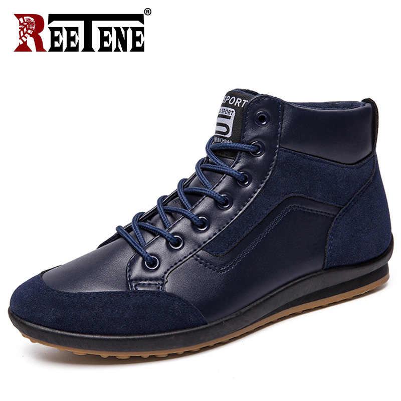 REETENE 2019 yeni erkek deri çizmeler moda sonbahar kış sıcak pamuklu erkek yarım çizmeler Lace Up erkek ayakkabısı ayakkabı erkekler rahat ayakkabılar