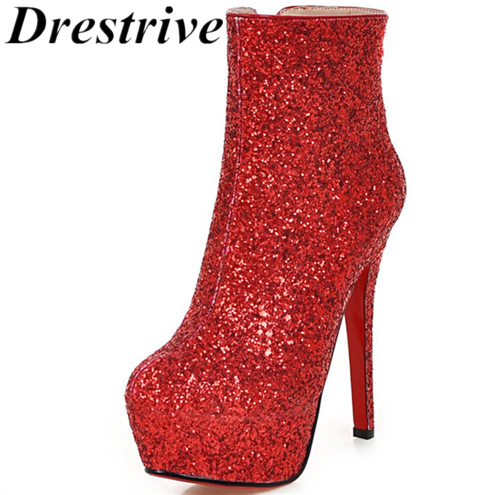 Drestrive fashion sequined cloth bling women ankle <font><b>boots</b></font> large size 33-43 supper high <font><b>heel</b></font> <font><b>14</b></font> <font><b>cm</b></font> platform zipper winter <font><b>boots</b></font> image