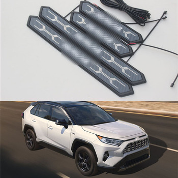 For Toyota RAV4 RAV-4 XA50 2019 2020 Stainless Steel Door Sill Scuff Plate Pedal Threshold trim cover inside door sill scuff plate welcome pedal stainless steel for toyota rav4 2013 2017 4pcs