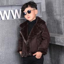 Осенне-зимнее Детское пальто из овчины, Вельветовая куртка из искусственной кожи, утепленная теплая куртка для мальчиков и девочек, верхняя одежда Modis, Y1841
