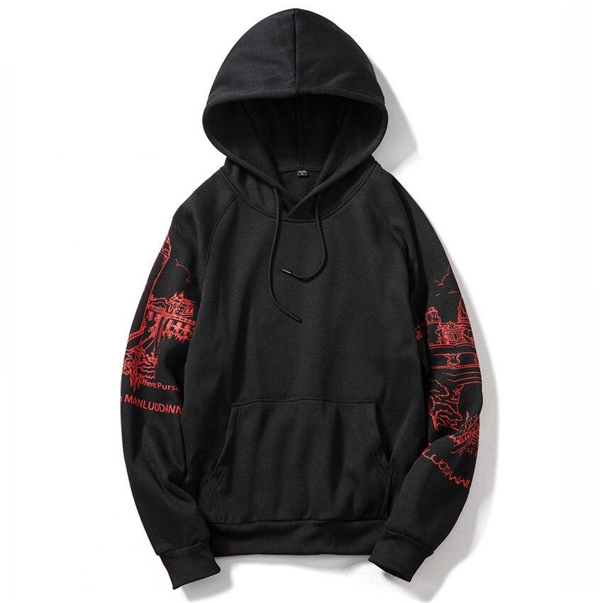 Sweat à capuche à manches longues pour homme, sweat-shirt imprimé japonais, style Hip Hop, décontracté, à la mode, nouvelle collection automne 2019