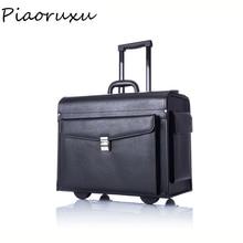 Дизайнерский чемодан на колесиках из натуральной коровьей кожи, деловой чемодан пилота, капитана, женский модный Дорожный чемодан, мужской черный чехол