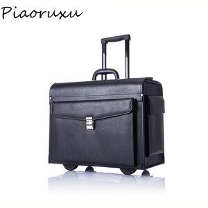 Image 1 - Дизайнерский чемодан на колесиках из натуральной коровьей кожи, деловой чемодан пилота, капитана, женский модный Дорожный чемодан, мужской черный чехол