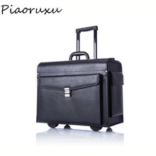 Designer Genuine Cow Leather Trolley Business Pilot Captain Luggage Women Fashion Travel Suitcase Mens Case Black