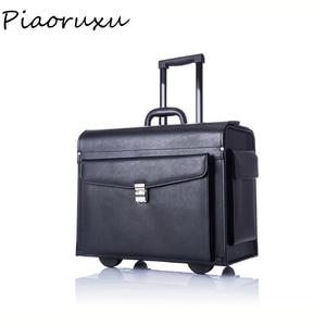 Image 1 - Designer Genuine Cow Leather Trolley Business Pilot Captain Luggage Women Fashion Travel Suitcase Mens Case Black