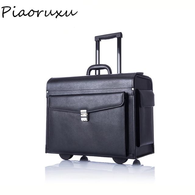 Designer Genuine Cow Leather Trolley Business Pilot Captain Luggage Women Fashion Travel Suitcase Mens Case Black