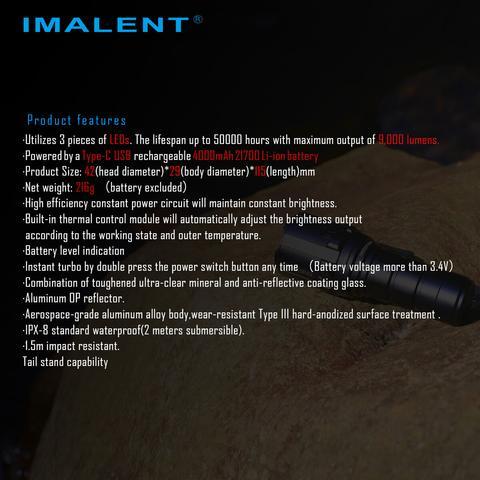 tipo-c usb recarregável lanterna por 21700 bateria para caça, busca e resgate