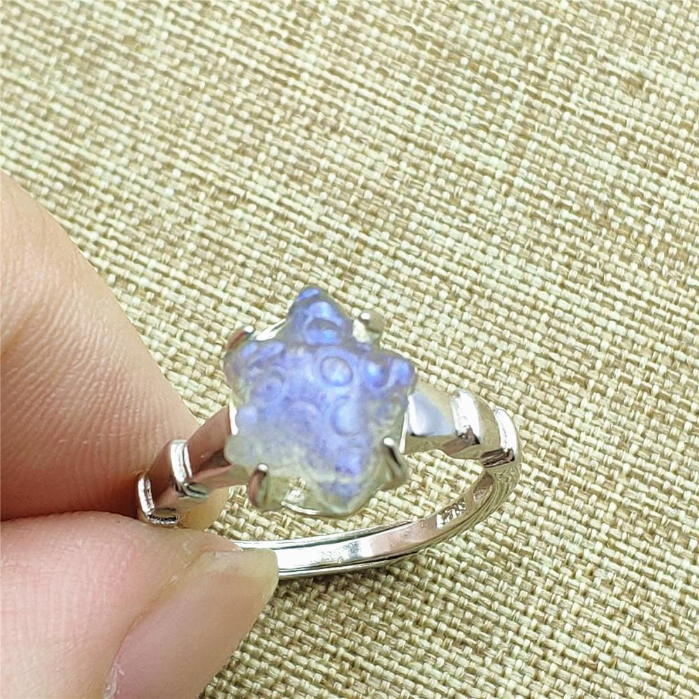 11x11mm Genuine Natural Labradorite Ring Anniversary Engagement Gift Luxury 925 Sterling Silver AAAAA Adjustable Ring Jewelry