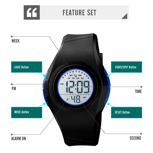 SKMEI Children Waterproof Watch Boys Girls LED Digital Sports Watches Plastic Kids Alarm Date Casual Watch Select Gift for kid 4