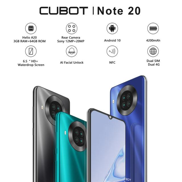 CUBOT Note 20 Mobile Phone  6.5″ HD Display 4200mAh Battery NFC Smart Phones Android 10.0 Rear Quad Camera Cellphones 64gb Rom 2