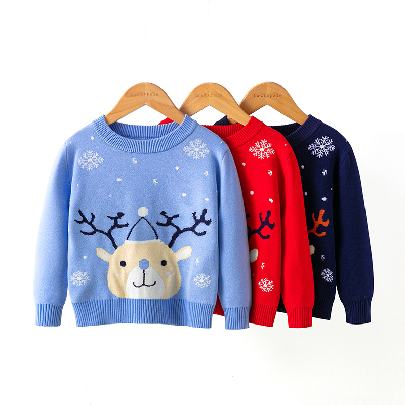 2021 Winter Boys Girls Sweater Christmas Costume Autumn Children Clothing Knitwear Boy Pullover Knitted Sweater Kids Sweaters 1