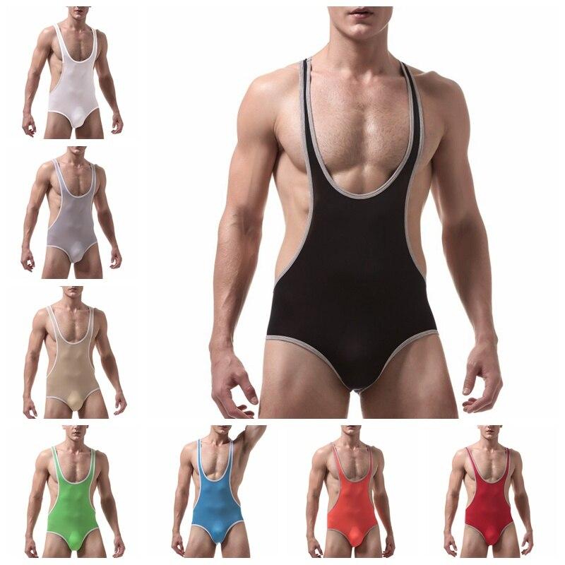 2019 Men Sexy Shapers Ultrathin Ice Silk Male Bodysuit Transparent Corset Polyester Bodysuit Shapewear