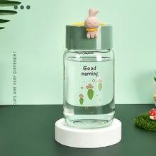 340ml simple fresh milk, lovely water bottle. Glass bottle straw Kawai drinking water bottle