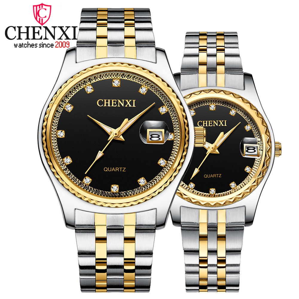 CHENXI Top Luxury Brand Men Women Watches Full Steel Rhinestone Quartz Watch Couples Clock Waterproof Wrist Watches For Lovers
