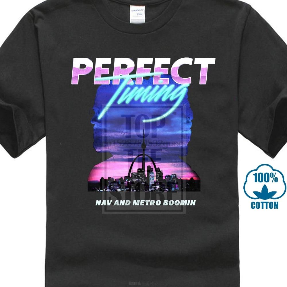 Nav Metro Boomin Perfect Timing Men Black White T Shirt Cool Casual Pride T Shirt Men Unisex New Fashion Tshirt Loose