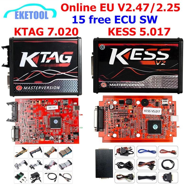 En ligne V2.47 KESS V5.017 V2 KTAG V7.020 V2.25 4LED pas de jeton OBD2 gestionnaire BDM K-TAG 7.020 KESS V2 maître ECU mise à niveau programmeur