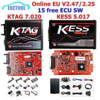 Online V2.47 KESS V5.017 V2 KTAG V7.020 V2.25 4LED No Token OBD2 Manager BDM K TAG 7.020 KESS V2 Master ECU Upgrade Programmer