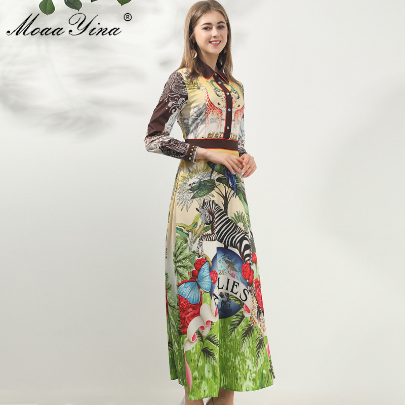Image 4 - MoaaYina Fashion Designer dress Spring Autumn Women Dress Long  sleeve Animal Floral Print Vintage Maxi DressesDresses