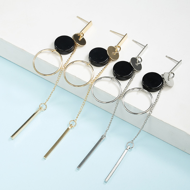 H4b4ff38a44074144b16753b9c7e9621dP - Korean Statement Black Acrylic Drop Earrings