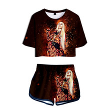 Women Two Piece Set Ava Max Tracksuit 3D Print Kawaii Short Top and Middle Waist Shorts Pop Lady Fitness Summer Girls Tracksuits