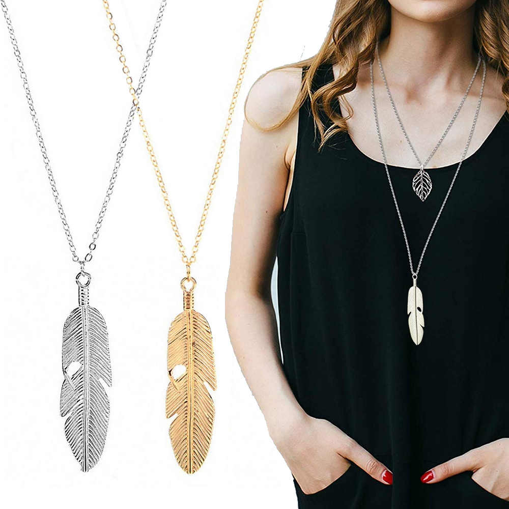 Simple Classic Feather Pendant Necklace Long Necklace Sweater Chain Statement Jewelry Leaf Chocker Choker Necklace For Women