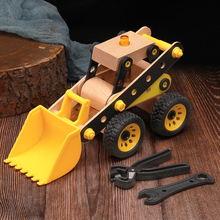 New Kids Toys Wooden Toys Excavator 3d Model Puzzle Diy Baby Early Educational Toys Puzzle Kits Toys For Children Birthday Gift new electric robot spider model toy diy educational 3d toys assembles toys kits for kids christmas birthday gifts