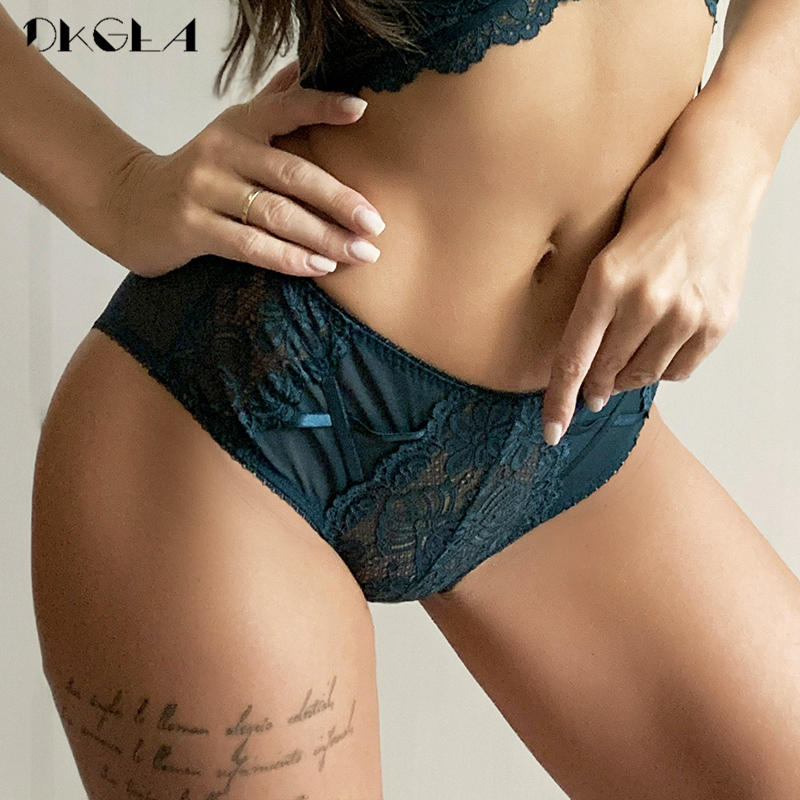 3 adet Mid-Rise külot seksi beyaz yeşil siyah kadın iç çamaşırı dantel nakış külot yumuşak oymak şeffaf külot XL L M S
