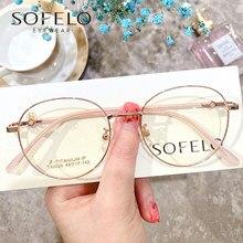 Round Titanium Optical Glasses Frame Women Myopia Prescription Eyeglasses Frame Ladies Retro Anti Blue Light Computer Spectacles