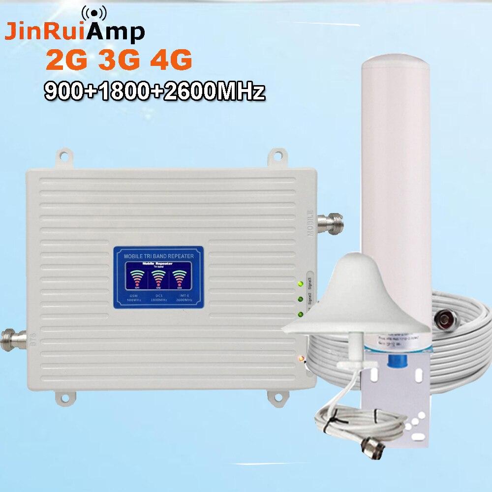 Répéteur 2G 3G 4G Tri bande GSM 900 + DCS LTE 1800 (B3) + FDD LTE 2600 (B7) amplificateur de Signal de téléphone portable 900 1800 2600 ensemble amplificateur de Signal