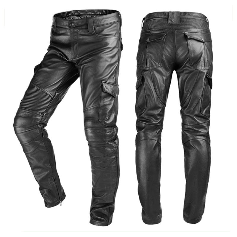2020 Black Men American Style Motorcycle Leather Trousers Plus Size 4XL Genuine Thick Cowhide Biker's Pants FREE SHIPPING