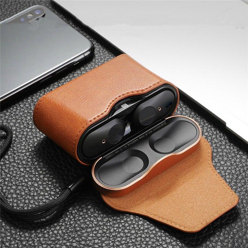 Funda protectora de cuero para auriculares inalámbricos Sony WF-1000XM3, estuche de almacenamiento de cubierta completa, Protector de bolsa de Funda magnética