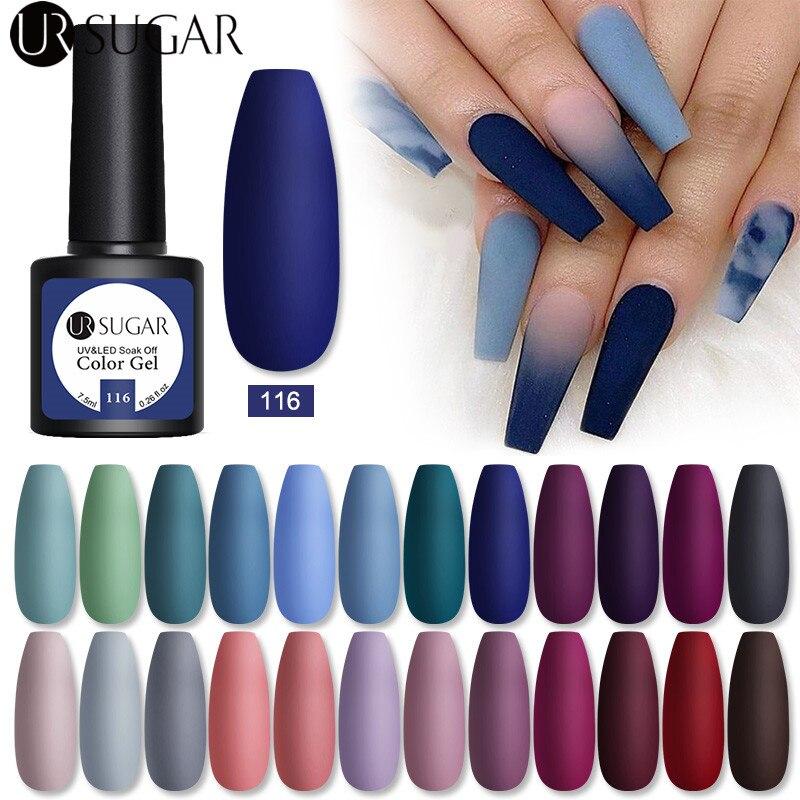 UR SUGAR 7,5 мл Гель-лак для ногтей матовый синий цвет Лаки зимние Блестящие Блестки отмачиваемый Полупостоянный УФ светодиодный гибридный диза...
